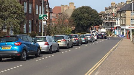 The roadworks are causing delays on the A149 Norwich Road into Cromer. Picture: STUART ANDERSON