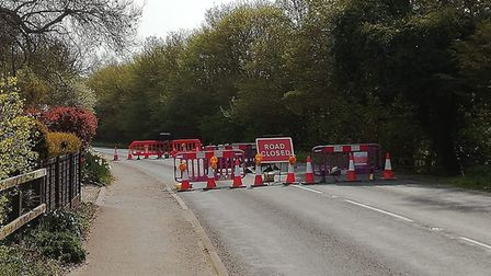 Roadworks on the B1436 Chapel Road at Roughton, which is causing delays on the A149 Norwich Road int