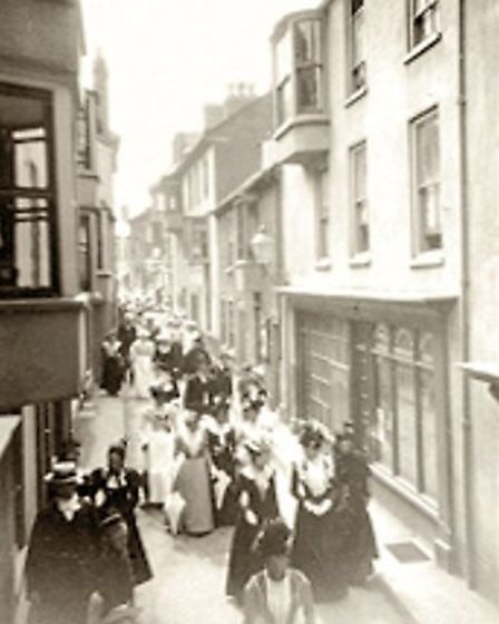 A haunting early photograph of Cromer's Jetty Street. Underneath lurk hidden tunnels and passageways