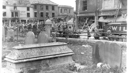 Looking out from the graveyard of Cromer's St Peter and St Paul Church, after the town was bombed by