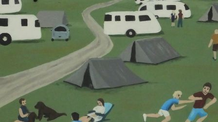 Campers in West Runton, depicted on the village sign. Picture: DR ANDREW TULLETT
