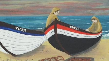 Crab boats in West Runton, depicted on the village sign. Picture: DR ANDREW TULLETT
