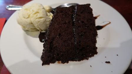The American chocolate fudge cake, with a scoop of ice cream, (£4.50) at the New Forge in Aylsham. P