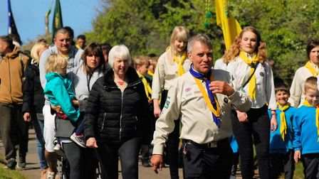 North Norfolk Scouts and leaders on the march at the annual St George's Day parade.Picture: ANDREAS