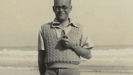 Malcolm Saville on beach at Runton in 1939. Pictures: Supplied by Joy Tubby