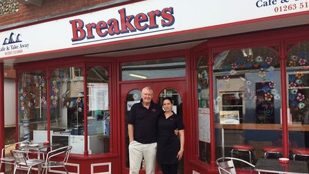 Laurie Scott and Ema Scott Rowlands at Breakers cafe in Cromer. Pictures: David Bale
