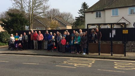 Protesters at bus stop in Overstrand High Street. Pictures: David Bale