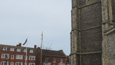 Union flag flying in Cromer churchyard on St George's Day. Picture: Dave 'Hubba' Roberts
