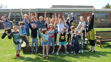 Headteacher Alison Read celebrating with pupils from Aldborough Primary School. Pictures: Aldborough