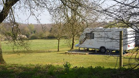 Caravans with a view at the Top Farm camping and glamping site at Marsham. Picture: DENISE BRADLEY