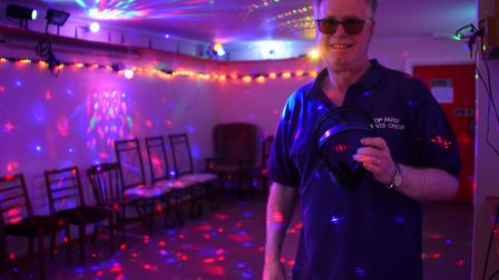 Clive Meeks in the disco facility of the mini festival area of the Top Farm camping and glamping sit