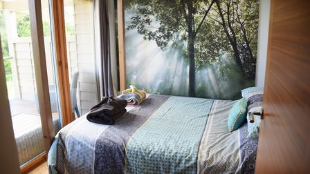 The bedroom in the Stiltz couple's retreat holiday home at the Top Farm camping and glamping site at