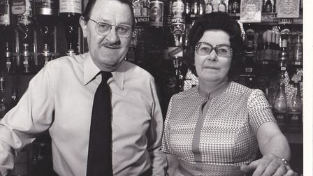 Peter Mills in the White Lion Hotel with his wife Isabel. Pictures: supplied by Rosemary Mills