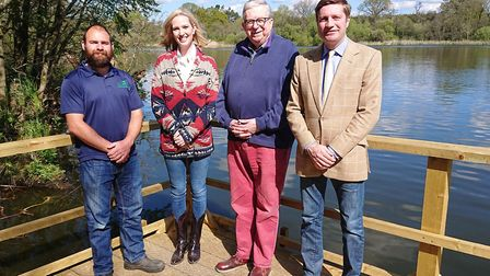 Pictured (L-R): Pete Taylor; Angela Broughton, trustee Fairhaven Garden Trust; Keith Simpson MP; and