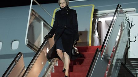 Prime Minister Theresa May arrives at Andrew's Air Force Base in Washington DC