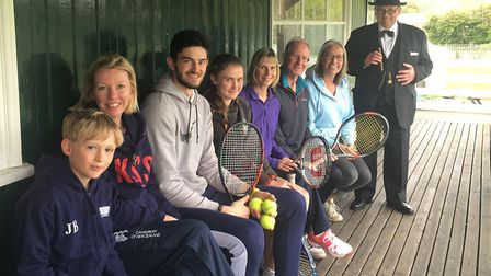 Players at Cromer tennis club, pictured in the spot where the former prime minister famously sat, ha