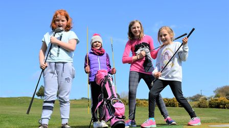 Young golfers drumming up interest in the Girls Golf Rocks: Brogan O'Hara, Bella Brown, Isabel Brown