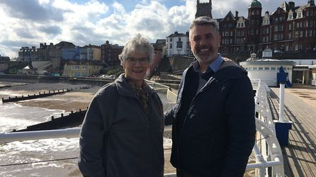 Hilary Cox, district councillor for Cromer and leisure portfolio holder (left), with Cromer Pier gen