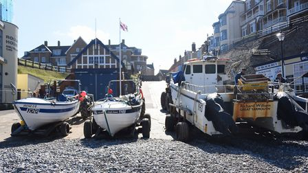 The fishing boats pulled up on the beach at Cromer. Picture: DENISE BRADLEY