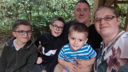 Jemma Reddings, right, pictured with fiancé Kevin Watson and their children, who are waiting for a c