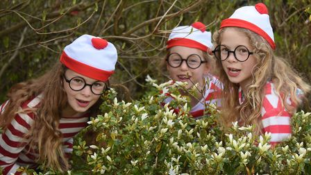 Wally's from left, Aggie Chuter, seven; Ilona MacNicol, six; and Bea Chuter, seven; at the Where's W