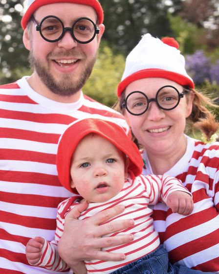 Ten-month-old Oscar Charles, at the Where's Wally event at Stody Lodge Gardens with dad, Michael, an