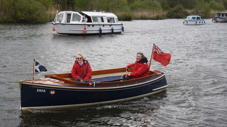 The flotilla makes its way from Hoveton to Horning to the Black Horse Broad to celebrate the 70th an
