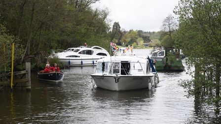 The flotilla leaves the Black Horse Broad after celebrating the 70th anniversary of an illegal barri