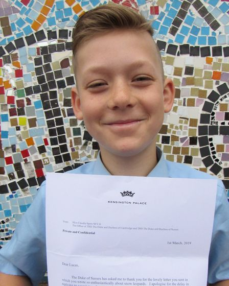 Pupil Lucas Turner with the Duke of Sussex's letter. Picture: Dawn Price