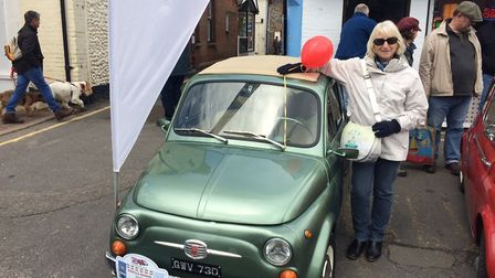 Classic Fiat 500s in Holt town centre. Mandy Edmonds in front of her car. Pictures: David Bale