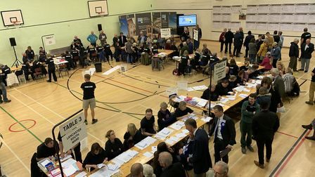 A scene from the North Norfolk District Council 2019 election count at the North Walsham High School