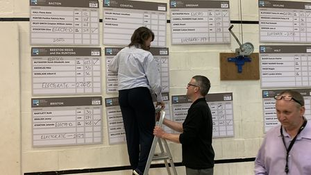 Results being marked up at the North Norfolk District Council 2019 election count at the North Walsh