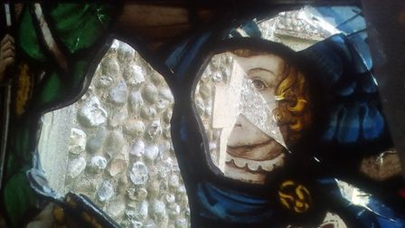 Vandalism to stained glass windows in St Andrew's Church, Holt. Pictures: St Andrew's Church, Holt