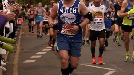 Mitchell Hare, from Holt, completed the London marathon in four hours and 25 minutes. Photo: Mitchel