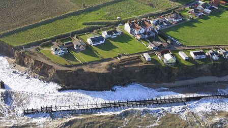 An aerial view of Happisburgh's coastline in 2001. Photo: Mike Page