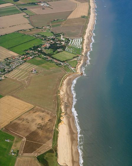 An aerial view of Happisburgh's coastline in 2007. Photo: Mike Page