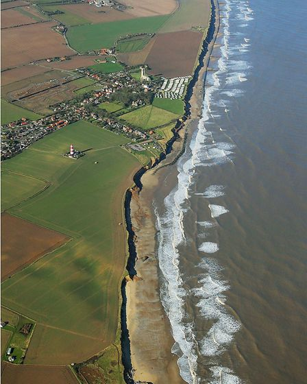 An aerial view of Happisburgh's coastline in 2018. Photo: Mike Page