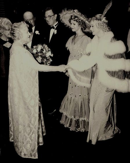 Catherine Terry, meeting the Queen Mother at the Royal Variety Show with the cast of 42nd Street. Ms