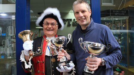Cromer town crier Jason Bell with Steven Burbidge, who is sponsoring the annual Ancient and Honourab