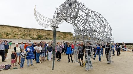 A lifesized replica of the West Ruton Mammoth, called Hugh Mungus, was displayed on West Runton beac