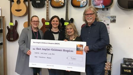 At the cheque presentation following this year's North Walsham Live Aid fundraiser are, from left, S