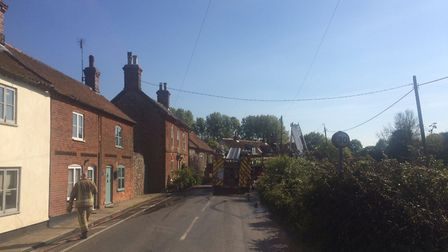 Firefighters are on the scene of a fire at a thatched property in Thornage, near Holt. Picture: DAVI