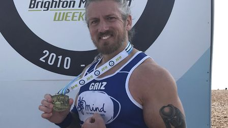 Martin Garrard completed the Brighton Marathon in four hours and 21 minutes. Photo: Submitted by Mar