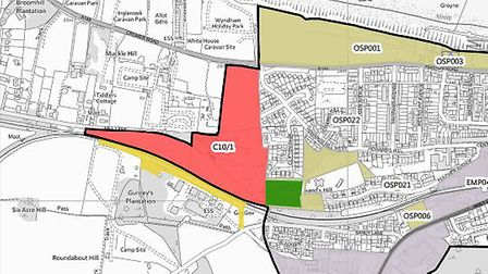 Proposed site - in red and green - for mixed use development to west of Cromer. Picture: NNDC docum