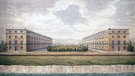 An1825 visualisation of the proposed Goldsmiths Square development of two facing terraces of 16 four