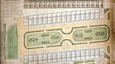 An 1825 visualisation of the proposed Goldsmiths Square development of two facing terraces of 16 fou
