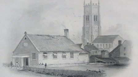 The 1821 Goldsmiths School building on Overstrand Road, Cromer, drawn by Philip Hardwick in 1833. Pi