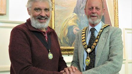 New mayor of Cromer, Richard Leeds (right), pictured with new deputy mayor Mike Bossingham. Photo: H