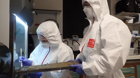 Scientists conducting DNA sampling as part of an expedition researching the prehistoric landscape of