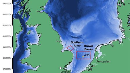 A map showing the Brown Banks and Southern River areas of Doggerland off the Norfolk coast, where re